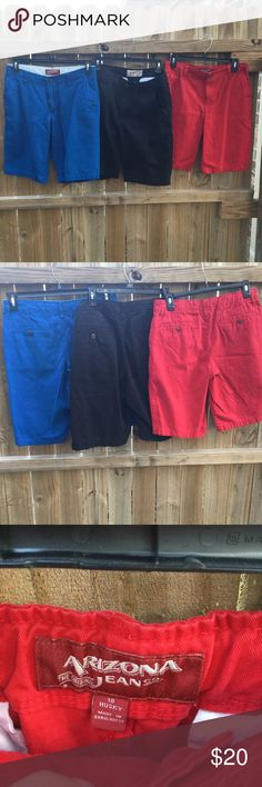 Arizona shorts bundle men's Get all three pairs for $20 (that's $6.66 a pair) if you want to split them up make me an offer. The black ones are size 30. The blues are 16 husky and the red are 18 husky. They all fit pretty much the same though. Arizona Jean Company Shorts Cargo
