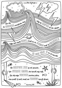Kleuren met Opwekkingslied 789 En als de golven overslaan, dan blijf ik hopen op uw Naam... Coloring Pages, Me Quotes, Diagram, Bible, Bullet Journal, Teacher, Letters, God Is, Biblia