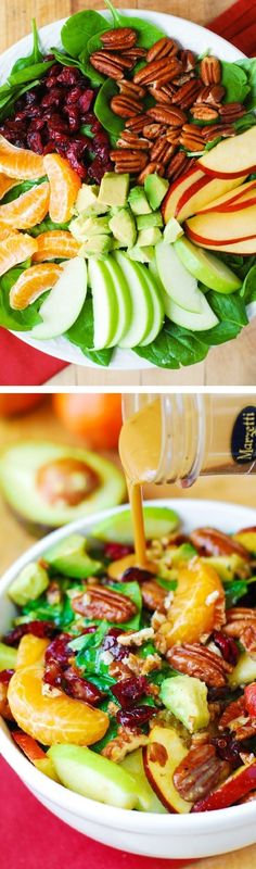 Apple Cranberry Spinach Salad Recipe. Ingredients include Pecans, Avocados (and Balsamic Vinaigrette Dressing) - delicious, healthy, vegetarian, gluten free recipe! #Marzetti #BH #sponsored by samanthasam