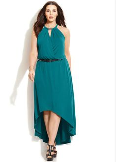 Plus Size Belted High-Low Maxi Dress
