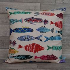 Makes you smile every room should have at least one of these cushions The linen-cotton canvas ensures that these fish will retain their shape and 30 Gifts, Xmas Gifts, Applique Cushions, Colorful Fish, Make You Smile, Cotton Canvas, Fabric Design, Scotland, At Least