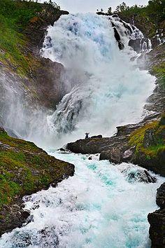 Kjosfossen Waterfall next to Flam, Sogneflord, Naeroyfjord Sognefjord branch, Sogn & Fjordane, Norway.
