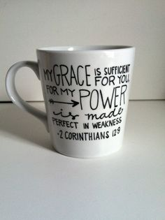 My Grace is Sufficient...2 Corinthians 12:9 Bible Verse Ceramic Coffee Mug-Hand painted-16 oz. -Christian