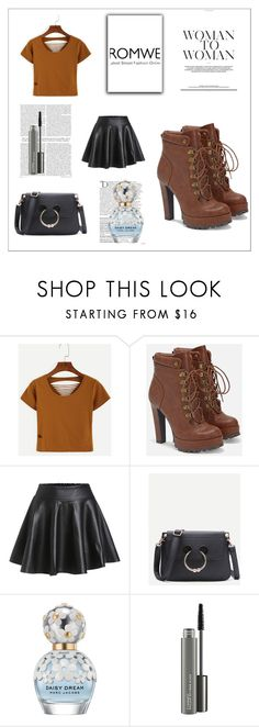 """""""Romwe"""" by munevera-berbic ❤ liked on Polyvore featuring WithChic, JustFab, Balmain, Marc Jacobs and MAC Cosmetics"""