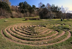 Visby, Gotland  Sweden's best-known labyrinth is situated immediately north of the old town of Visby. It has 12 walls and the entrance is orientated to the NW. The oldest written record of this labyrinth is on a map of 1740-41. Labyrinth at Visby. Photo: Jeff Saward, 1998