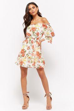 7d9ad0a5276 Floral Print Off-the-Shoulder Mini Dress