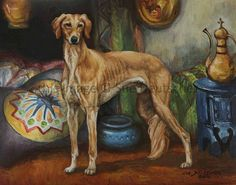 Saluki Hound Dog art  8x10 print from painting by Sue Deutscher, $9.99 http://suedeutscher.com