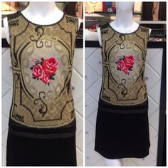 Rose embroidered dress at #NICCI