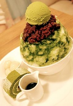 green tea shaved ice