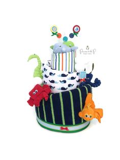 Nautical Diaper Cake. Nautical Baby Shower. Anchors aweigh, Under the sea. Baby Boy. decoration. Topsy Turvy Diaper Cake. Seahorse. Octopus by PrincessAndThePbaby on Etsy https://www.etsy.com/listing/467384414/nautical-diaper-cake-nautical-baby