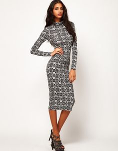Black long sleeve polo neck dress