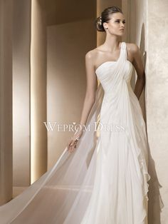 Stretchy One-shoulder Sleeveless Floor-Length Draped Inverted Triangle|Hourglass Wrap A-Line Wedding Dresses -wepromdresses.com