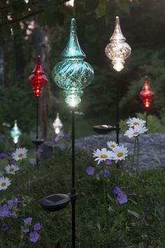 Solar Garden Stakes Finial - Outdoor Christmas Ornaments Solar outdoor Christmas ornaments have a distinctive crackled appearance reminiscent of vintage mercury glass - but in sturdy plastic instead.