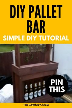 Looking for a cool DIY project? This is sure to be a conversation starter with your friends. Click on for our simple DIY tutorial on how to build a bar out of pallet wood. Have fun!  #thesawguy #diybar #barideas #homebar #palletwood #palletprojects #homebar #diyfurniture Wood Pallet Signs, Wood Pallets, Pallet Bar, Pallet Benches, Pallet Tables, Outdoor Pallet, 1001 Pallets, Recycled Pallets, Pallet Crafts