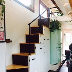 Couple's 'Paspin' Tiny House on Wheels with Rooftop Deck, Outdoor Shower, and Indoor Bath Tub! Loft, Bed, Furniture, Home Decor, Homemade Home Decor, Lofts, Stream Bed, Home Furniture, Attic