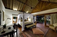 Beautiful spacious traditional Balinese architecture bedrooms.