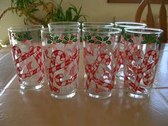VINTAGE CHRISTMAS CANDY CANE GLASSES