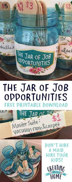 The Jar of Job Opportunities {Money Jar My kids were complaining recently that they want chances to earn money. We've never done allowance before and they're just below the baby-sitting age, so money-making opportunities have… Earn Money From Home, Earn Money Online, Online Jobs, Chores For Kids, Activities For Kids, Kids Chore List, Toddler Chores, Toddler Boys, Children Chores
