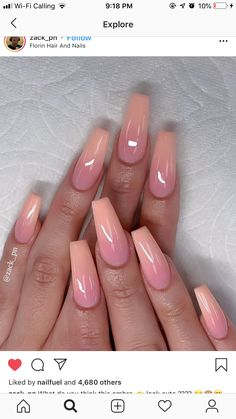 Cutest Pink Ombre Nail Designs & Photos for Girls in 2019 - Nails Art - Nageldesign Ombre Nail Designs, Acrylic Nail Designs, Nail Art Designs, Nails Design, Pink Ombre Nails, Purple Nail, Pink Toe Nails, Nagel Blog, Modern Nails