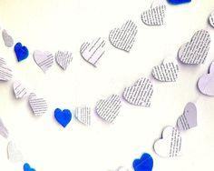 Royal blue wedding banner black white blue heart by AntnFrog, $12.00