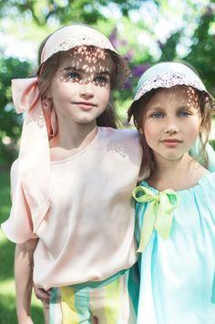 Cute lace openwork visors from Aristocrat Kids spring 2016 kidswear