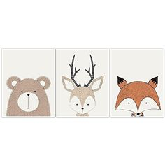 Woodland Creatures Wall Art Unique Nursery Decor - UNFRAMED Poster Prints