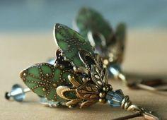 Green flower earrings - blue crystal brass victorian inspired romantic earrings. AmberSky Original Signature Design