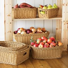 Panama Weave Washable Baskets, Set of 2 | Williams-Sonoma - PERFECT FOR MY BASEMENT COLD CELLAR