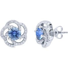 BERRICLE Sterling Silver Blue Swarovski Zirconia Flower Fashion Stud... (1 805 UAH) ❤ liked on Polyvore featuring jewelry, earrings, jewels, blue, stud earrings, women's accessories, blue earrings, flower stud earrings, flower jewellery and flower jewelry