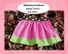 Free Kids Apron PDF Sewing Pattern with sizes for babies up to 12 girls/youth!