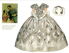 The dress Melanie wears to Scarlett's wedding. It looks gray instead of blue as the artist must have referred to an unrestored copy of the movie.
