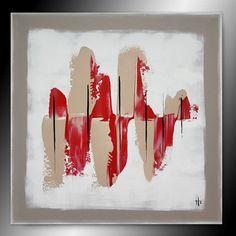 tableau peinture abstrait rouge et taupe - Peinture, 50x50x1,7 cm ©2018 par Sandrine Hartmann - rouge, art, france, carré, unique, original, fait main, peinture