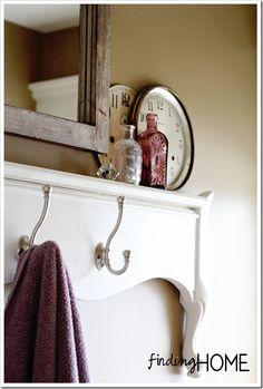 Bathroom Decorating Ideas: Footboard Towel Rack  www.findhomeonline.com  #BathroomDecor  #DIYFurniture