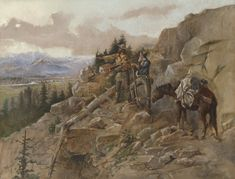 Sid Richardson Museum: Trouble on the Horizon (Prospectors discover an Indian Camp) by Charles M. Russell