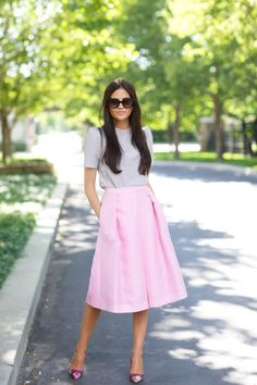 Rach Parcell Pink Peonies Midi Skirt