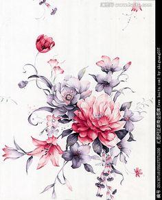 手绘花卉图案素材(主体花纹未分
