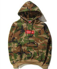 Neu Herren Camouflage Supreme Hip Hop Hoodie Sweater hooded Pullover Sweatshirt