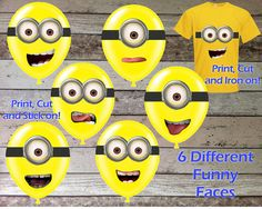 DESPICABLE ME Minions Goggles and Mouths Printable Birthday Party Sticker for Balloons Decorations & Iron On Transfer Tshirt