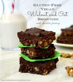 Gluten-Free Vegan Walnut and Oat Brownies | The Healthy Family and Home