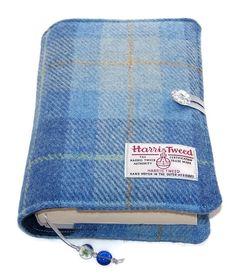Book Cover in HARRIS TWEED Blue Skies Handmade Bible Cover