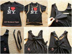 DIY T-shirt Refashion to Racerback Workout Tank diy clothes diy refashion diy shirt diy workout