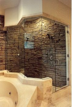 Stacked stone shower charisma design