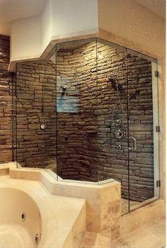 Stacked stone shower charisma design