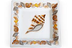 Square shell-motif ashtray.