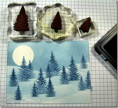 Click through to get a free winter moonlight snow scene tutorial. Christmas Cards To Make, Handmade Christmas, Holiday Cards, Card Making Tutorials, Card Making Techniques, Scrapbook Cards, Scrapbooking, Hanukkah Cards, Snow Scenes