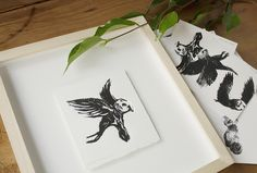 These are a bunch of tiny lino and photocopy transfer prints, each on squares of Fabriano paper measuring approximately by - by PencilheartArt Tiny Prints, Printmaking, Owls, Squares, Fine Art, Paper, Owl, Printing, Graphics