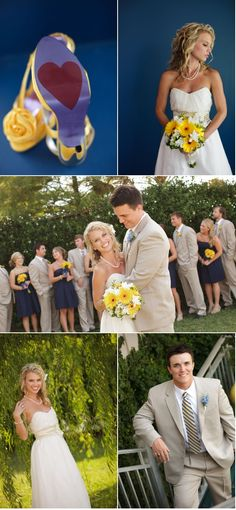 I really love the navy blue dresses & the yellow to accent the theme!