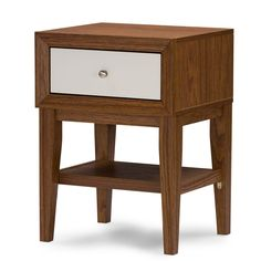 The Gaston Modern Nightstand features engineered wood and veneered with dark brown  and white faux wood grain paper. A single drawer with silvertone knob is set above a small shelf to keep your important items close at hand.