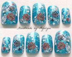 Summer fake nails acrylic nails aqua blue flowers by Aya1gou, $16.00