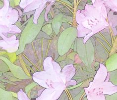 Pastel Rhododendron Large fabric by wren_leyland on Spoonflower - custom fabric